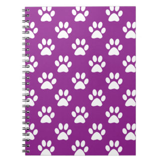 Purple and white paw prints pattern notebook