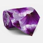 Purple and White Petunias Tie