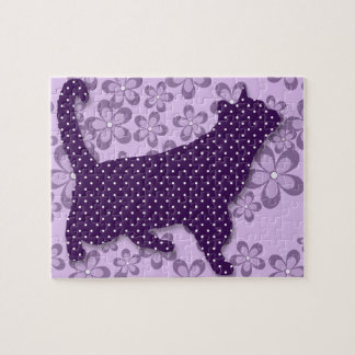 Purple and White Polka Dot Cat with Retro Flowers Jigsaw Puzzle