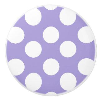 Purple and White Polka Dot Furniture Knob