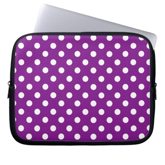 Purple and White Polka Dot Laptop Sleeve