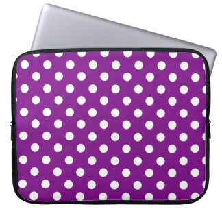 Purple and White Polka Dot Laptop Sleeve