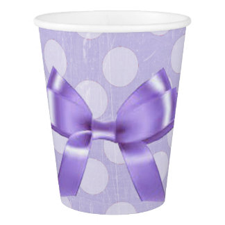 Purple and White Polka Dot Party Paper Cups