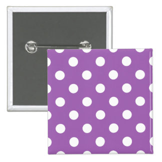 Purple And White Polka Dot Pattern 15 Cm Square Badge