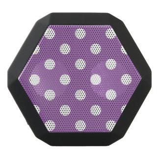 Purple And White Polka Dot Pattern Black Bluetooth Speaker