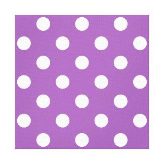 Purple And White Polka Dot Pattern Canvas Print