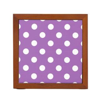 Purple And White Polka Dot Pattern Desk Organiser