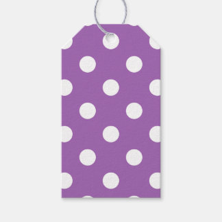 Purple And White Polka Dot Pattern Gift Tags