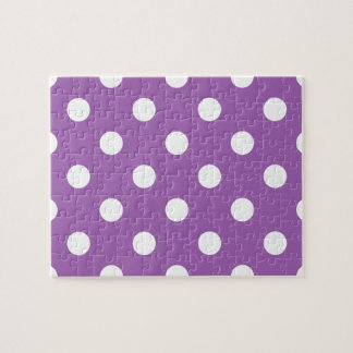 Purple And White Polka Dot Pattern Jigsaw Puzzle