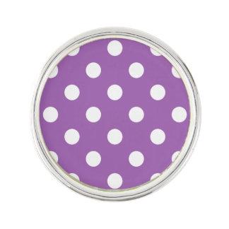 Purple And White Polka Dot Pattern Lapel Pin