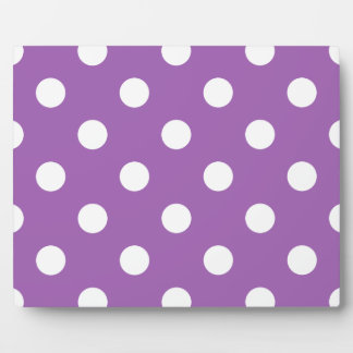 Purple And White Polka Dot Pattern Plaque