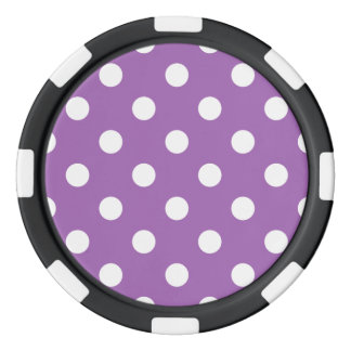 Purple And White Polka Dot Pattern Poker Chips
