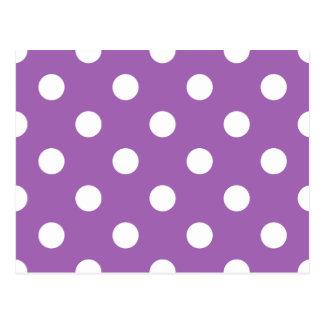 Purple And White Polka Dot Pattern Postcard
