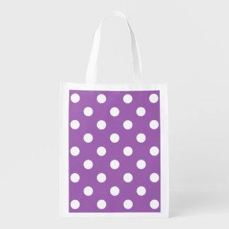 Purple And White Polka Dot Pattern Reusable Grocery Bag