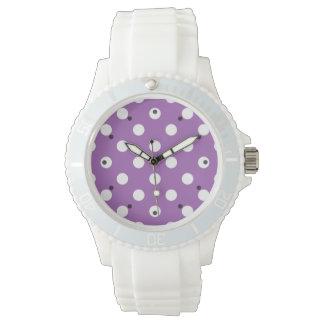 Purple And White Polka Dot Pattern Watch