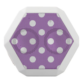 Purple And White Polka Dot Pattern White Bluetooth Speaker