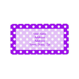 Purple and White Polka Dots Address Label