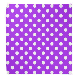 Purple and White Polka Dots Bandana