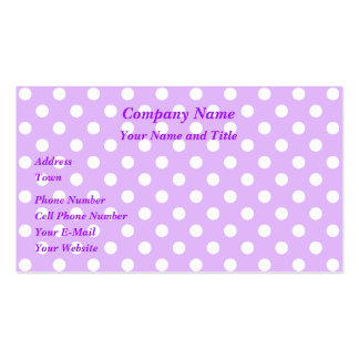 Purple and White Polka Dots Business Card Template