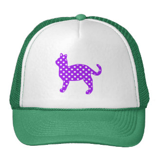 Purple and White Polka Dots Cat Standing Cap
