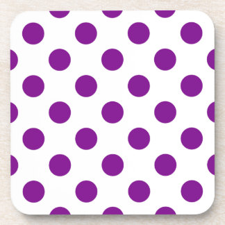 Purple and white polka dots coaster