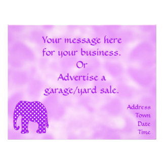 Purple and White Polka Dots Elephant 21.5 Cm X 28 Cm Flyer