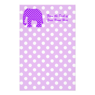 Purple and White Polka Dots Elephant Customized Stationery
