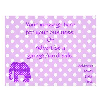 Purple and White Polka Dots Elephant 21.5 Cm X 28 Cm Flyer