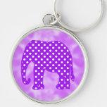 Purple and White Polka Dots Elephant Keychain