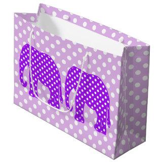 Purple and White Polka Dots Elephant Large Gift Bag