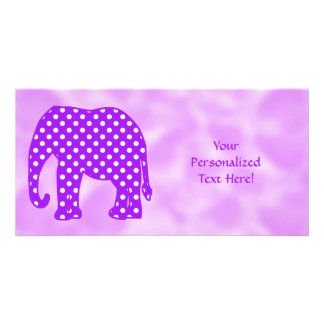 Purple and White Polka Dots Elephant Photo Greeting Card