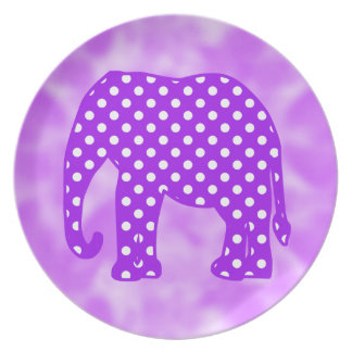 Purple and White Polka Dots Elephant Dinner Plates