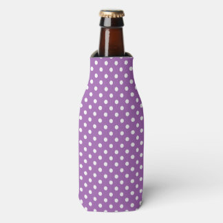Purple and White Polka Dots Pattern Bottle Cooler