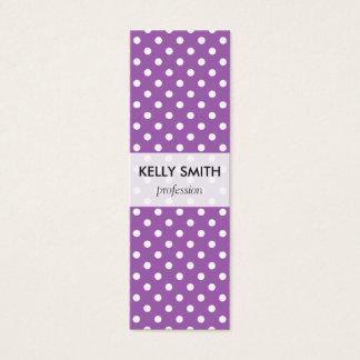 Purple and White Polka Dots Pattern Mini Business Card