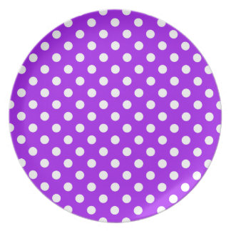 Purple and White Polka Dots Party Plate