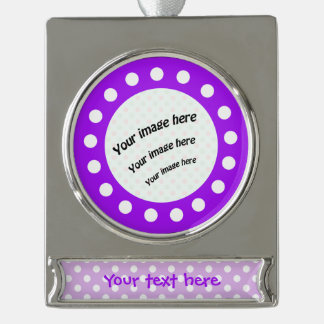 Purple and White Polka Dots Silver Plated Banner Ornament