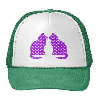 Purple and White Polka Dots Sitting Cat Cap