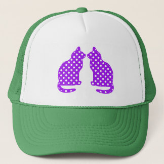 Purple and White Polka Dots Sitting Cat Trucker Hat