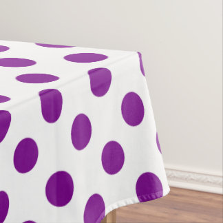 Purple and white polka dots tablecloth
