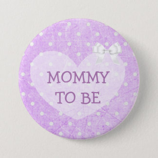 Purple and White Polka Dotted Grandma To Be Button