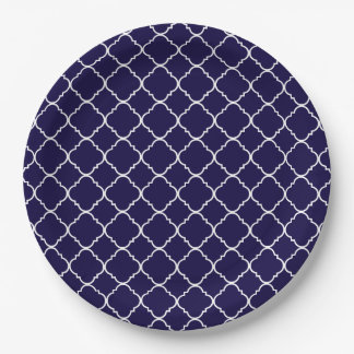 Purple and White Quatrefoil Paper Plate