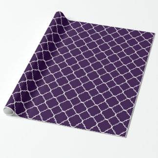 Purple and White Quatrefoil Wrapping Paper