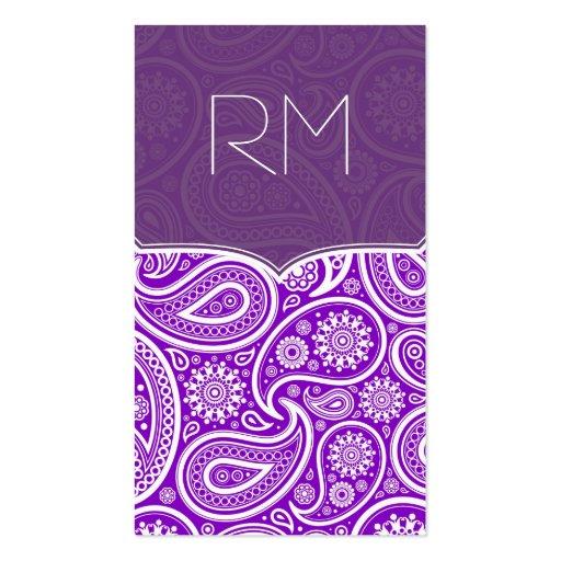 Purple And White Retro Paisley Ham Pattern Design Business Card Templates