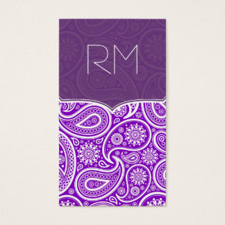 Purple And White Retro Paisley Ham Pattern Design Business Card