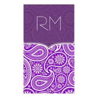 Purple And White Retro Paisley Ham Pattern Design Pack Of Standard Business Cards