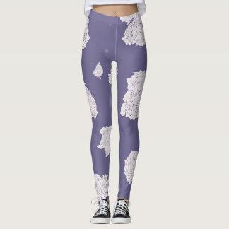 Purple and White Roses Leggings