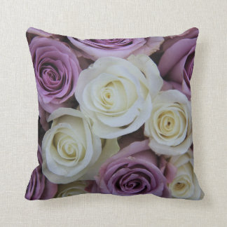 Purple and white roses pillow