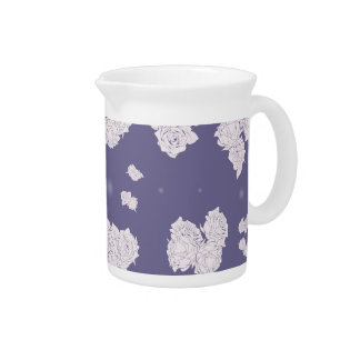 Purple and White Roses Pitcher