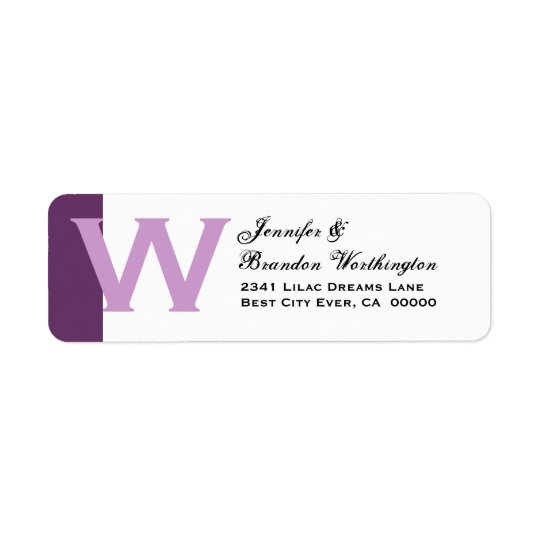 Purple and White - Simple and Elegant Personalised Return Address Label