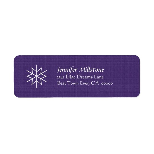 Purple and White Snowflake Address Label